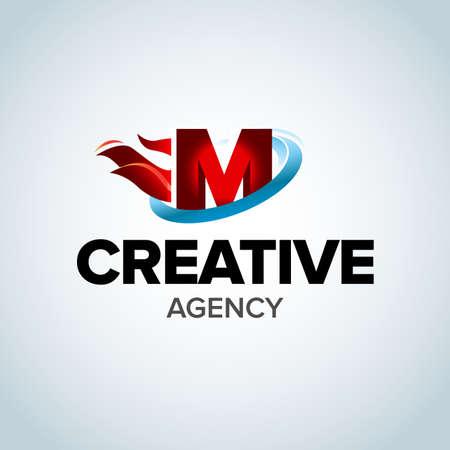 Fire Letter M logo template. Burning flame design element vector illustration. Corporate branding identity. Creative Fire logotype template. Isolated vector illustration. Ilustracja