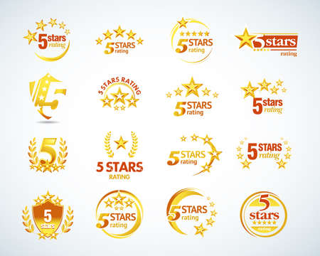 Golden Five stars logo template set. 5 star rating emblems set. Isolated Vector illustration