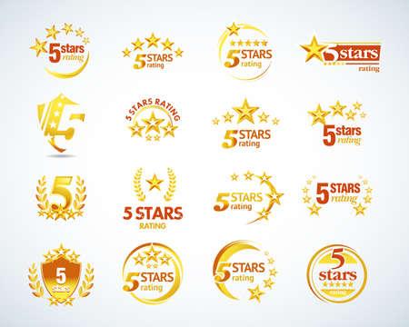 Goldenes Fünf-Sterne-Logo-Schablonenset. 5 Sterne Embleme gesetzt. Isolierte Vektorillustration