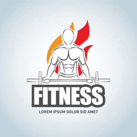 Sport Fitness club creative concept. Bodybuilder Fitness Model Illustration, Gym club logotype, Sign, Symbol, badge.fitness vector logo design template, design for gym and fitness vector.