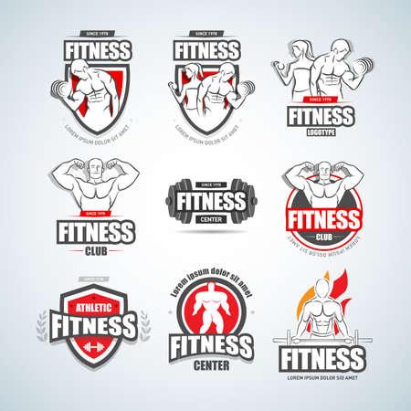 Man woman Fitness logo templates set. Gym club logotypes. Sport Fitness club creative concepts. Gym club logotypes. Bodybuilder, Sportsman Fitness Model Illustration, Sign, Symbol, badge.  イラスト・ベクター素材