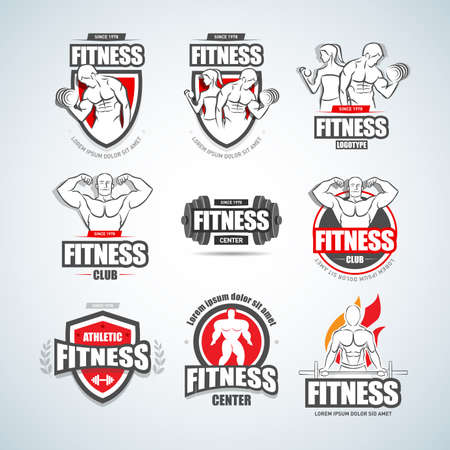 Man woman Fitness logo templates set. Gym club logotypes. Sport Fitness club creative concepts. Gym club logotypes. Bodybuilder, Sportsman Fitness Model Illustration, Sign, Symbol, badge. 矢量图像