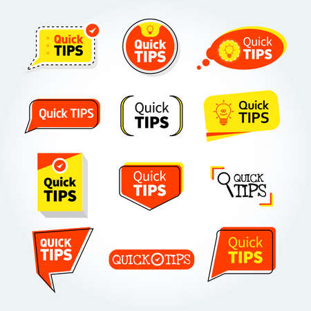 Quick tips mega set, helpful tricks vector logos, emblems and banners vector set isolated. Helpful idea, solution and trick illustration