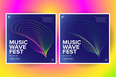 2 Music wave poster design. Sound flyer with abstract gradient line waves. Isolated vector illustration.