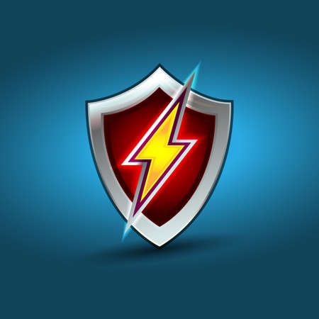 Lightning shield, electric power vector logo design element. Energy and thunder electricity symbol concept. Lightning bolt sign in the circle. Flash vector emblem template. Power fast speed logotype