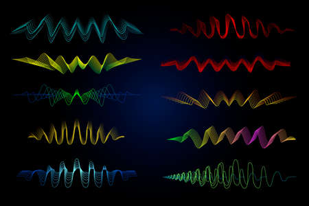 Equalizer vector illustration. Abstract wave icon set for music and sound. Pulsation color lines on black background. Radio frequency graph. Graphic digital voice. Stock rate line.