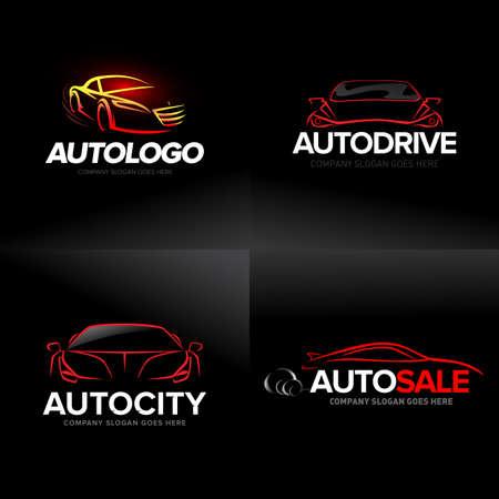 Car logo templates set, abstract car design concept, automotive car logo design template.
