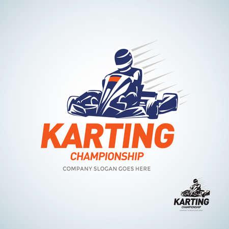 Silueta de competición de carreras de Karting Club. Ilustración de vector