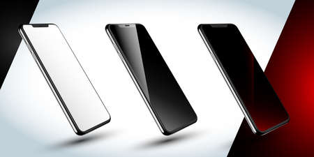 Smartphone-Rahmen weniger leer, schwarzer Bildschirm, roter Bildschirm - gedrehte Positionsabbildung