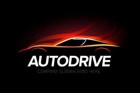 Zestaw do naprawy i naprawy samochodów 'Autodrive'. Logo samochodu. Logo na białym tle auto tematu.