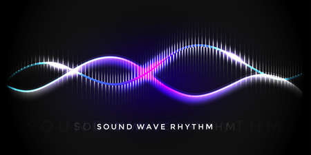 Sound wave rhythm. Abstract music pulse background. Audio voice rhythm radi wave, frequency illustration 向量圖像