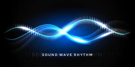 Sound wave rhythm on deep blue background. Abstract music pulse background. Audio voice rhythm radi wave, frequency vector illustration 向量圖像