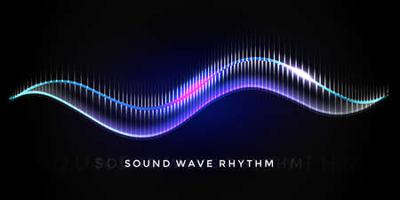 Sound wave rhythm on black background. Abstract music pulse background. Audio voice rhythm radi wave, frequency vector illustration