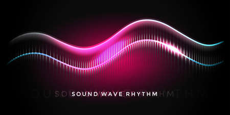 Sound wave rhythm on deep coral background. Abstract music pulse background. Audio voice rhythm radi wave, frequency vector illustration