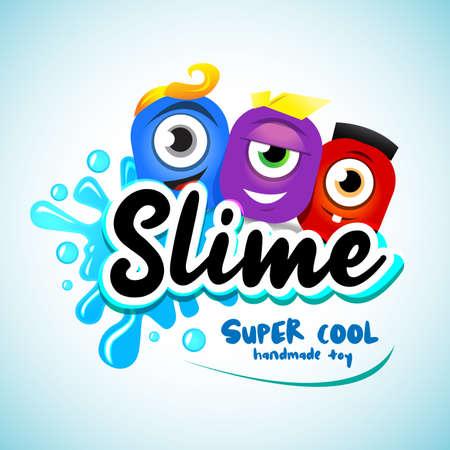 Cartton Slime-Logo. Cartoon-Monster-Schleim-Charaktere mit Buchstaben, Spritzern und Flecken. Tropfen Schleim auf weißem Hintergrund.