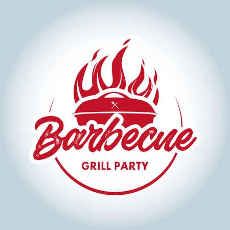 Barbecue fire. BBQ party design, invitation, ad design. BBQ template menu design. Barbecue Food flyer. Barbecue advertisement. Ilustrace