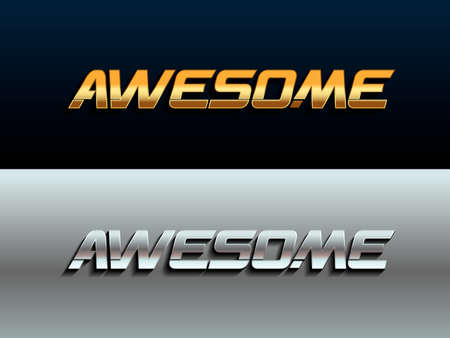 Awesome gold and silver metallic sign. Awesome phrase graphic vector t-shirt Print Fashion lettering