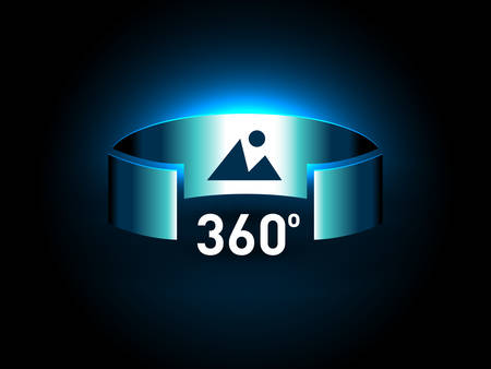 360 Degrees View Vector Icon. Virtual reality icon. Abstract Digital Hi Technology Innovation 360 Degrees concept Use For VR Technology Background or Virtual Reality Interface Technology.