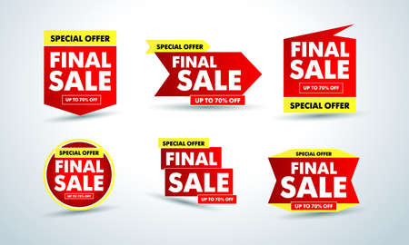 Final sale banners set, special offer up to 70% off. Isolated Vector illustration.
