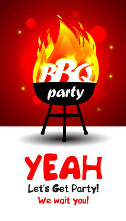 BBQ time. Barbecue party, party invitation template. Vector illustration.