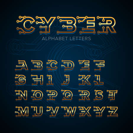 Golden Cyber Techno type font alphabet. Digital hi-tech style letters, numbers and symbols. Gold Technology letters. Stock vector for your headlines, posters etc. Isolated vector illustration.