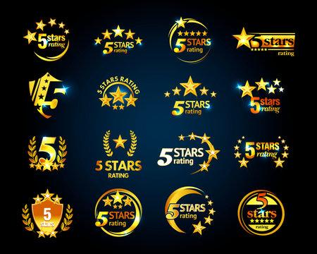 Luxury Golden Five stars logo template set. 5 star rating emblems set. Isolated Vector illustration.