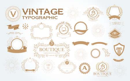 New Vintage typographic design elements set vector illustration. Labels and badges, retro ribbons, luxury ornate logo symbols, calligraphic swirls, flourishes ornament vignettes and other. Ilustrace