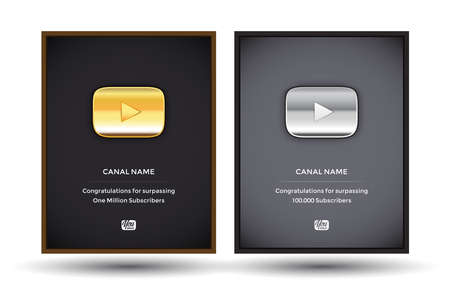 Golden and silver  award buttons set in frames. Gold button video player. Silver button video player. Isolated vector illustration.