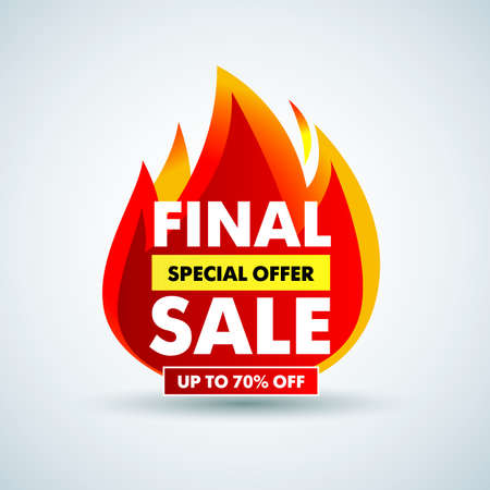 Hot Final sale banner, special offer up to 70% off. Isolated Vector illustration.
