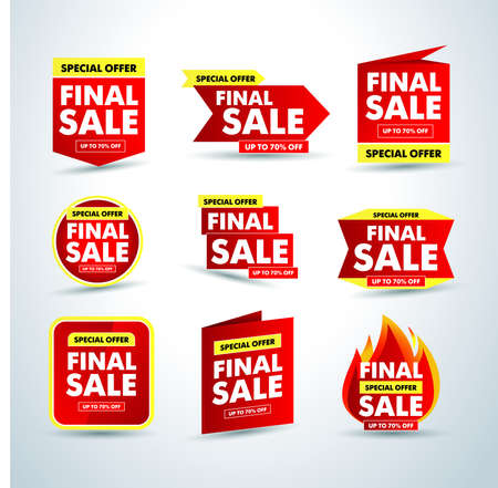 Hot Final sale banners set, special offer up to 70% off. Isolated Vector illustration.