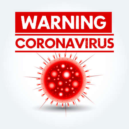 Warning sign caution coronavirus. Stop coronavirus. Coronavirus outbreak. Coronavirus danger and public health risk disease and flu outbreak. Pandemic medical concept with dangerous cells.Vector Ilustrace