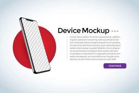 Side view smartphone blank screen, phone mockup. Template for infographics or presentation UI design interface.