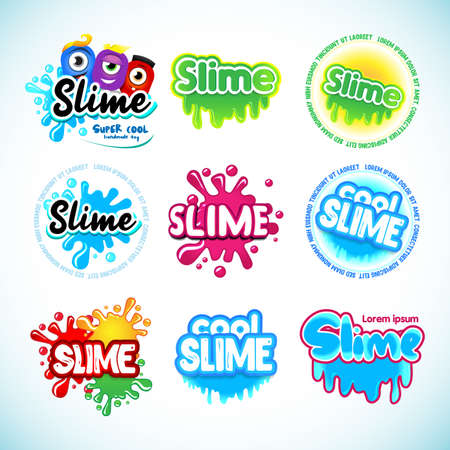 Slime logotype templates set. Cartoon monster characters. Liquid green and blue slime. Letters with blots, splashes and smudges. Glossy typeface. Drops slime isolated on white background