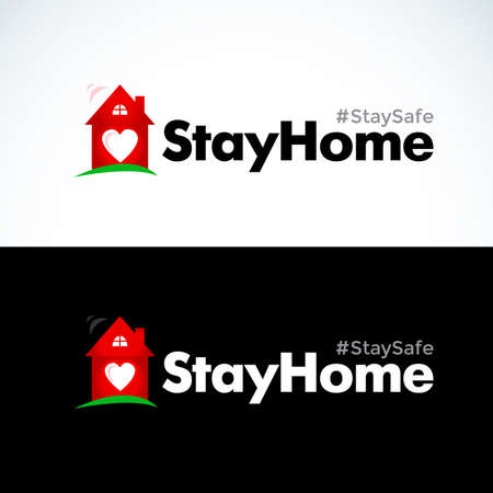 Stay at home slogan with house and heart inside. Protection campaign or measure from coronavirus, COVID - 19. Stay home quote text, hash tag or hashtag. Coronavirus, COVID 19 protection logo.