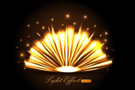 Gold Light effect. Vector shining golden bright light. Gold shine burst with sparkles illustration isolated on black background