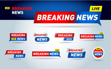 Breaking news minimalistic set. News background, breaking news, vector infographic with news theme. Entertaining show with news. isolated vector Illustration