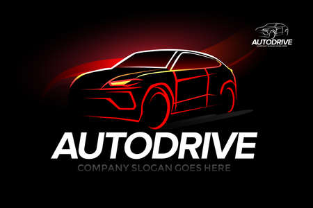 'Auto drive' car - car service and repair, vector set. Isolated auto theme .