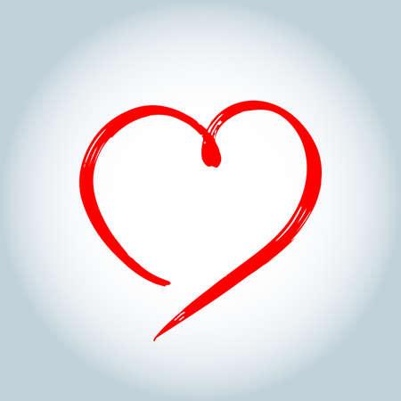 Vector Heart shape frame with brush painting isolated on white background Ilustração
