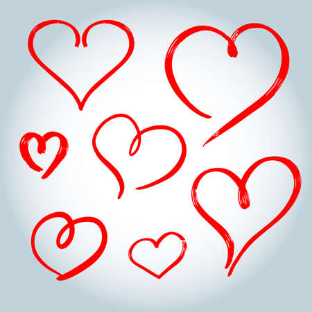 Vector Heart shape frame with brush painting set isolated on white background, hand drawn love heart collection.