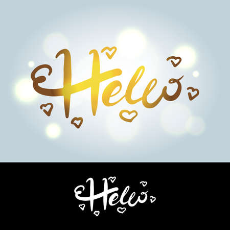 Hello in hand drawn style in golden and black and white colors. Hello world. Lettering design concept.Hand lettering typography. New year party. Hello quote message bubble. Hello symbol. Ilustração
