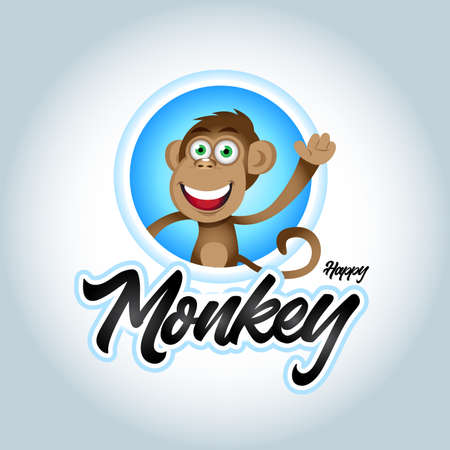 Cute happy monkey in a shape of a circle design. Monkey mascot vector. Animal vector illustration. Geek monkey . Chimpanzee vector design. Ilustração