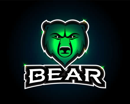 Bear - vector illustration, emblem design on white background. Bear Head Mascot Emblem.