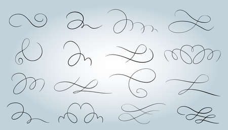 Calligraphic elements. Calligraphic and page decoration design elements.Isolated vector illustrations.