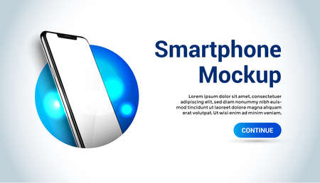 White realistic smartphone vector mockup in the circle. 3d mobile phone with blank white screen. Modern cell phone template on gradient background. Illustration of device 3d screen