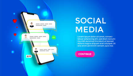 Chatting and communication vector concept 3d. Phone with likes and message icons. Smartphone application social media illustration