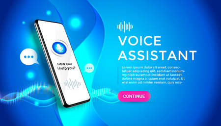 Blue realistic vector 3d smartphone. Voice assistant concept. Mobile app infographic template with buttons and audio waves. Interface for audio control illustration