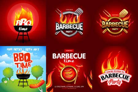 BBQ 6 colorful poster designs, party design, invitation, ad design. Barbecue logo. BBQ template menu design. Barbecue Food flyer. Barbecue advertisement.