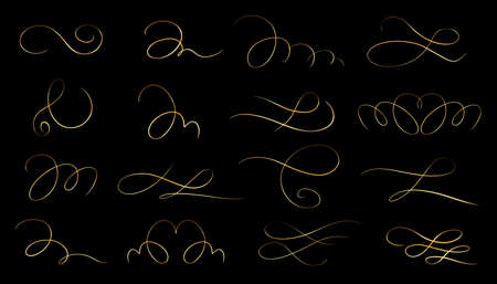 Golden Calligraphic elements. Calligraphic and page decoration design elements.Isolated vector illustrations.