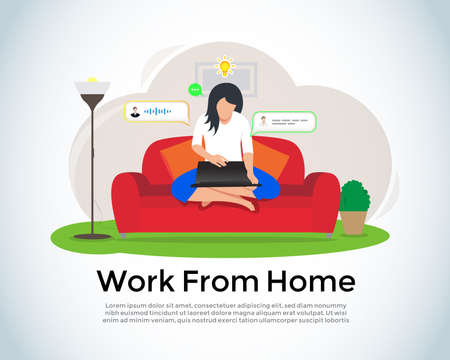 Working from home. Home office concept, woman working from home sitting on a sofa, freelancer. Cute vector illustration in flat style. Ilustração