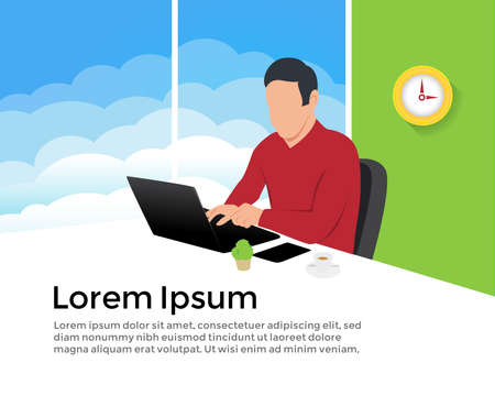businessman marketer working at the computer in the office, vector flat illustration of programmer, business analyst, designer, manager Ilustração